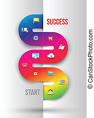 Abstract business info graphics template with icons. Vector illustration. can be used for workflow layout, diagram, number options, step up options, web design.
