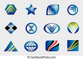 Abstract business logo sign set