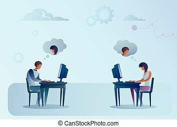 Abstract Business Man And Woman Sitting At Office Desk Working Laptop Computer Chatting Social Media Communication