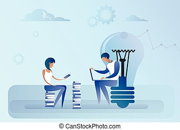 Abstract Business Man And Woman Sitting Light Bulb Working Laptop Computer Creative Team Idea Concept