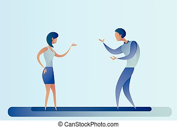 Abstract Business Man And Woman Talking Businesspeople Team Cooperation