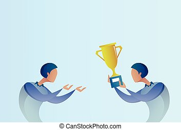 Abstract Business Man Giving Golden Cup Prize To Winner, Success Concept