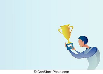 Abstract Business Man Hold Prize Winner Cup, Success Concept