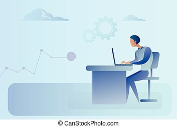 Abstract Business Man Sitting At Office Desk Working Laptop Computer