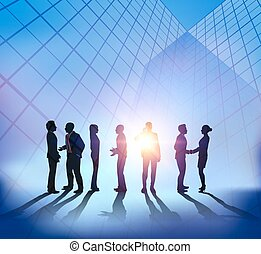 Abstract business meeting with sunset city background
