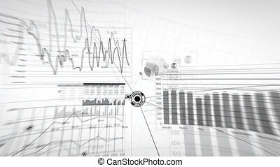 Abstract Business Network Growing White Background. Flying Through Global Financial Graphs Charts. Beautiful Looped 3d Animation Lines and Dots. Business and Technology Concept 4K Ultra HD 3840x2160.