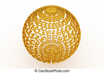 Abstract business or finance, made up from currency character sphere or planet. Wallpaper for graphic design. Gold color 3D rendering.