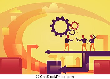 Abstract Business People Group Over Cog Wheels Background Brainstorming Process Concept