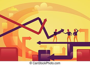 Abstract Business People On Arrows Up Background Financial Success Concept
