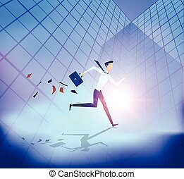 Abstract business people running with building background.