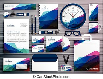 abstract business stationery corporate identity template design
