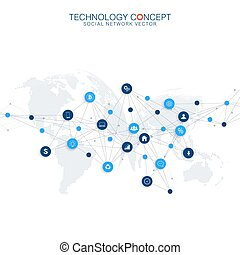 Abstract business vector infographic. Cloud computing and global network connections concept design. Scientific business template with icons for brochure, diagram, workflow, timeline, web design.