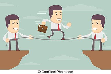 Abstract Businessmen Pulling