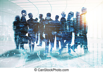 Meeting concept - Abstract businessmen silhouettes in...