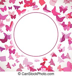 Abstract Butterfly Background. Vector illustration of pink butterflies. Circle place for text on