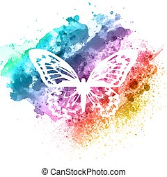 abstract butterfly design on watercolour texture 2508