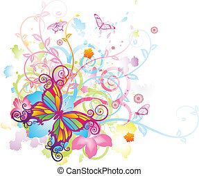 Abstract colourful butterfly background with stylised floral elements, patterns and splashes
