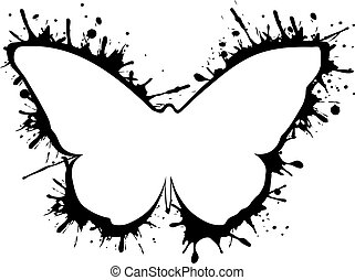 Abstract butterfly silhouette vector icon with splash isolated logo on white