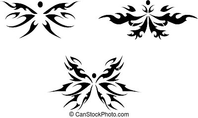 Abstract iIsolated butterfly tattoos in tribal style on white background