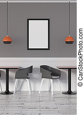 Abstract cafe with poster