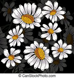 Abstract camomile seamless pattern on black background.