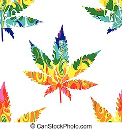Abstract Cannabis Seamless Pattern Background Vector on ...