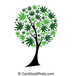 Abstract Cannabis Tree Background Vector Illustration