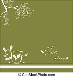 tea time - abstract cap of tea with flowering branch and tea...