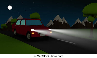 Abstract car driving on a country road at night with...