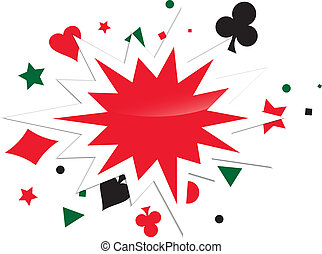 Abstract Card Game Boom Over White Background