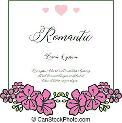Abstract card romantic background, with pattern of pink flower frame elegant. Vector