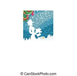Abstract card - winter shopping