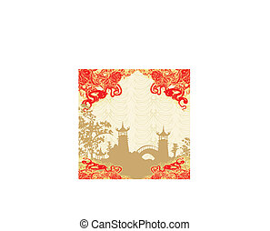 Abstract card with Asian buildings