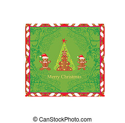 Abstract card with Christmas gingerbread tree