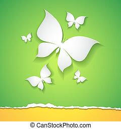 butterflies - abstract card with paper butterflies on green ...