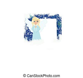 Abstract card with sweet blond angel praying