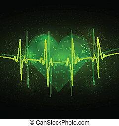 Abstract cardiogram in shades of green on a background of...