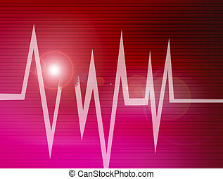 abstract cardiogram - lines of cardiogram on red lines...