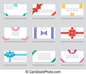 Abstract cards red gift bows ribbons set vector illustration