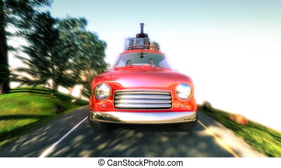 abstract cartoon car traveling with a roof rack on a mountain road. 4k animation