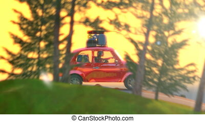 abstract cartoon car traveling with a roof rack on a mountain road on sunset. 4k animation