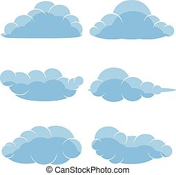 Abstract cartoon icons of blue clouds