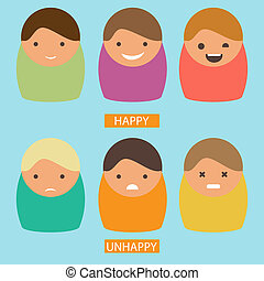 Abstract cartoon icons. Vector  set of characters with happy and unhappy emotions. Flat picture