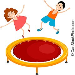 Abstract cartoon illustration of a bright colored trampoline and children on a white background. Playing children in the air. Vector illustration