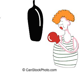 Abstract cartoon of a boxer with red glove punching a black punching bag vector illustration on white background