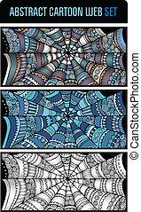 Abstract cartoon spider web background set