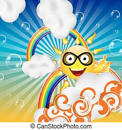 Abstract cartoon sun clouds and rainbow background