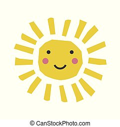 Abstract cartoon sun. Funny character. Collage scandinavian style.