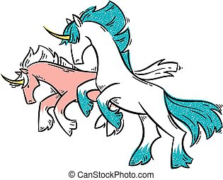 Abstract cartoon unicorns standing on two legs and gallop....