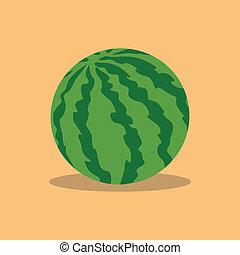 watermelon - abstract cartoon watermelon on a light color...